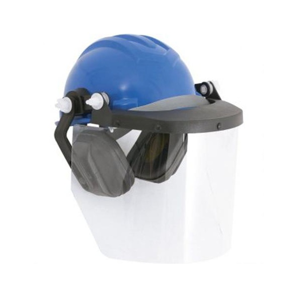 Capacete Com ProteÇao Facial e Abafado De RuÍdos Azul Ref 958 Ledan