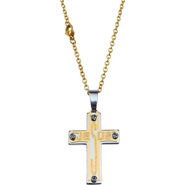 Corrente Aço Inox 316L Dourada Com Cruz Jesus