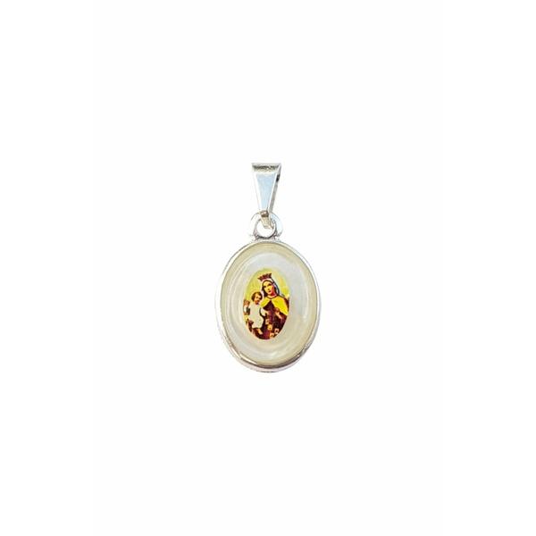 Medalha Madre Pérola com Base Metal