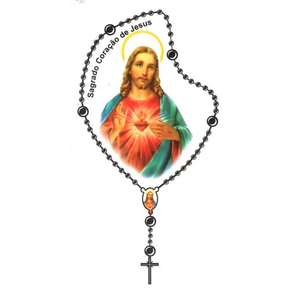 Adesivo Terço Pequeno Sagrado Coração de Jesus