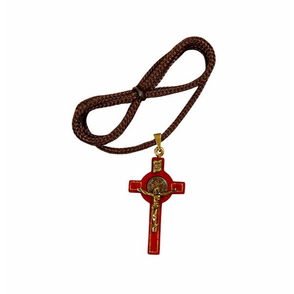 Cordão com Cruz de São Bento de Madeira 4x2cm