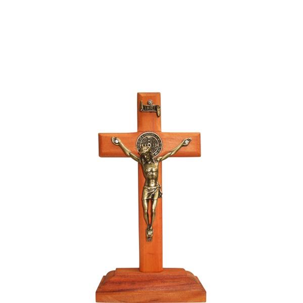 Crucifixo Madeira 12cm Mesa e Parede