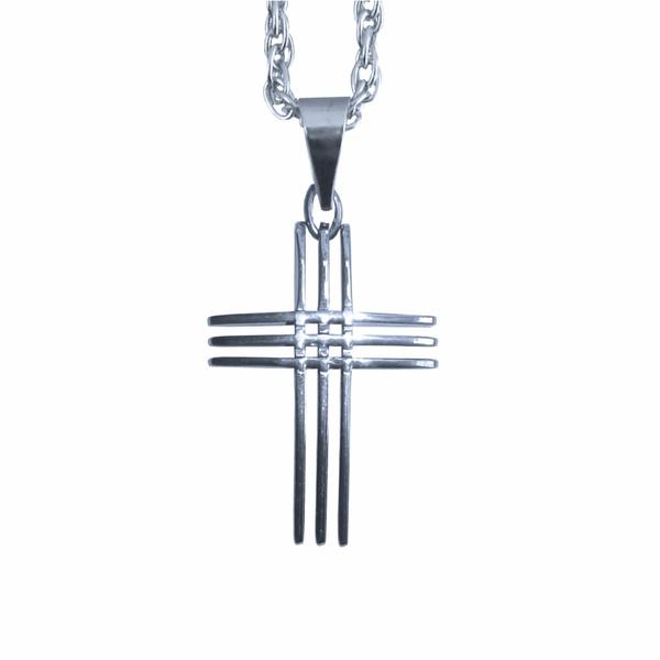 Corrente com Crucifixo Aço Inox com 3 Lâminas
