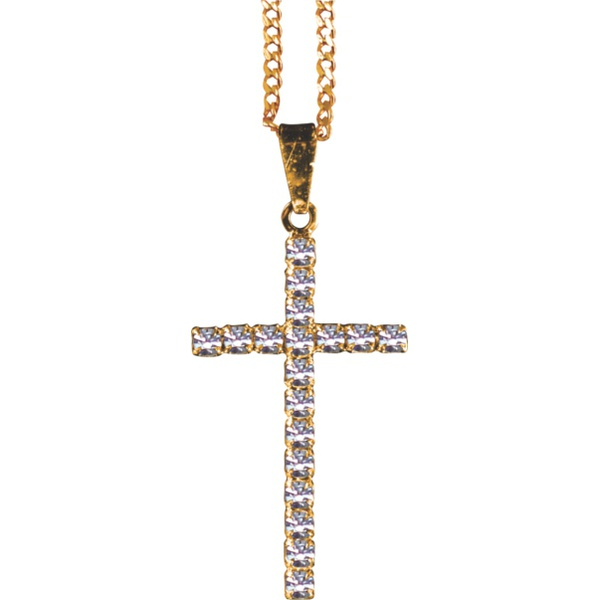 Corrente Folhado a Ouro com Crucifixo Strass