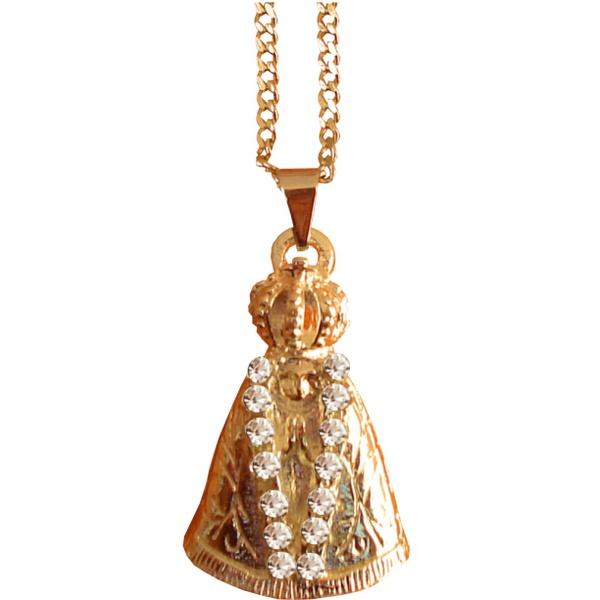 Gargantilha Folhada à Ouro Nossa Senhora Aparecida com Strass Pequena