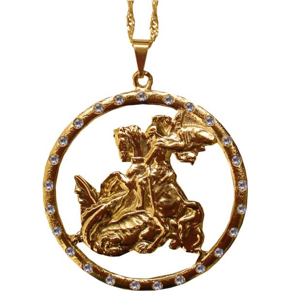 Gargantilha Folhado à Ouro São Jorge Grande Vazado