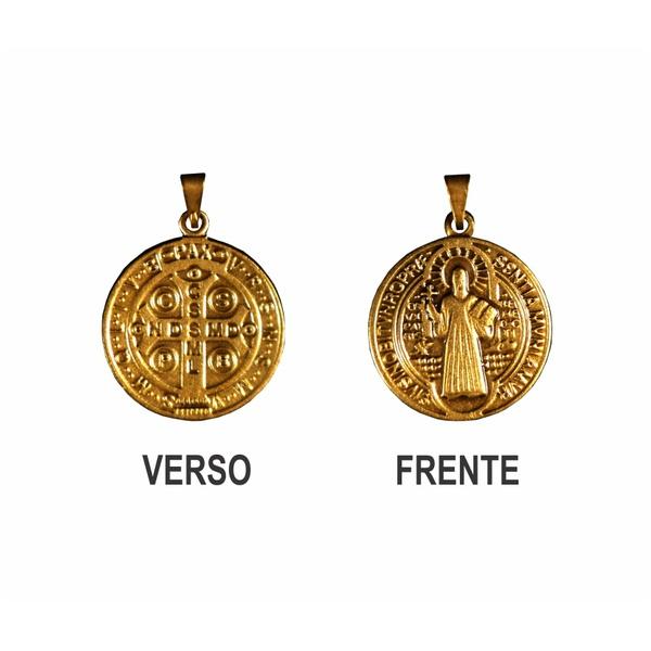 Medalha São Bento Ouro Velho Grande 28mm