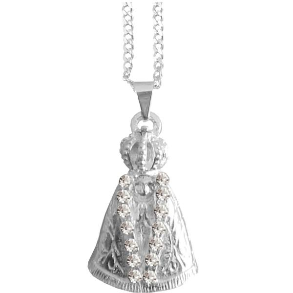 Gargantilha Folhada à Prata Nossa Senhora Aparecida com Strass Pequena