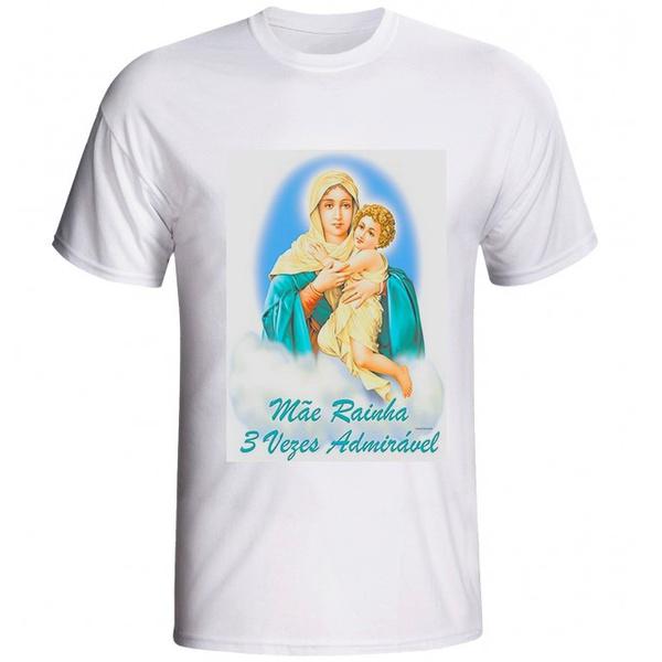 Camiseta Nossa Senhora Mãe Rainha 3 Vezes Admirável