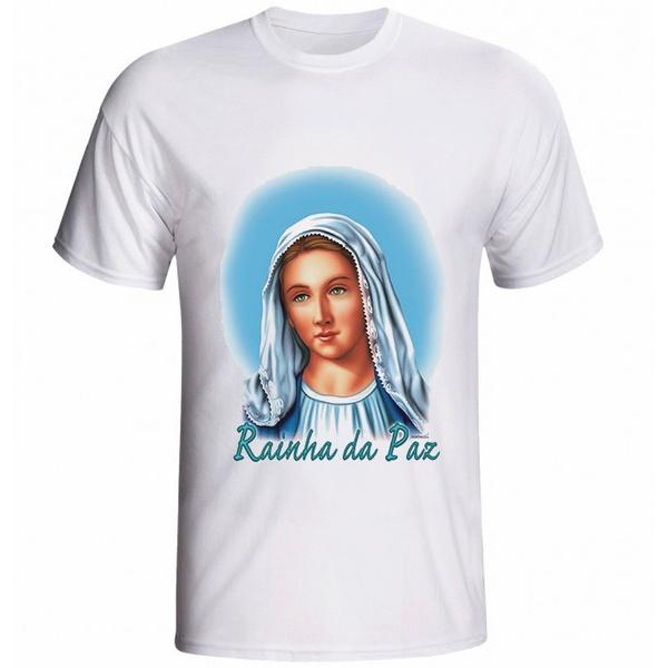 Camiseta Nossa Senhora Rainha da Paz Azul