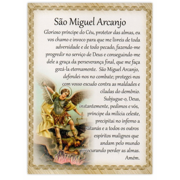 Cartão Postal Oração São Miguel Arcanjo