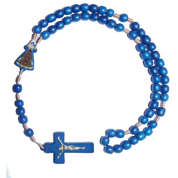 Terço Madeira Azul Personalizado Aparecida