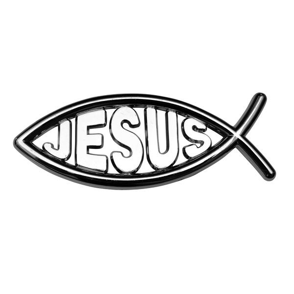 Adesivo Peixe Jesus Cromado