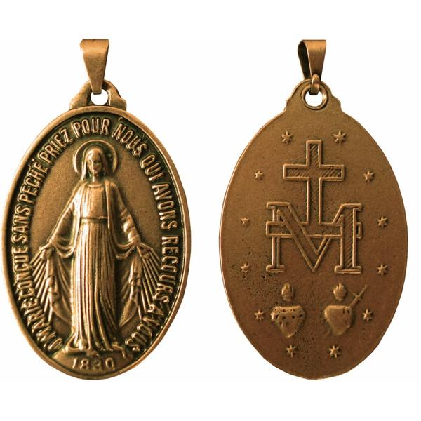 Medalha Milagrosa Ouro Velho 28x43 mm Grande