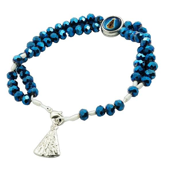 Terço Pulseira Cristal Azul Nossa Senhora Aparecida
