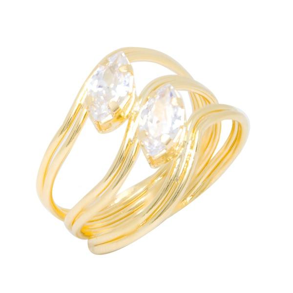 Anel 3 Fios tipo Onda Semijoia Banho de Ouro 18K com 2 Pedras Zircônia Navete