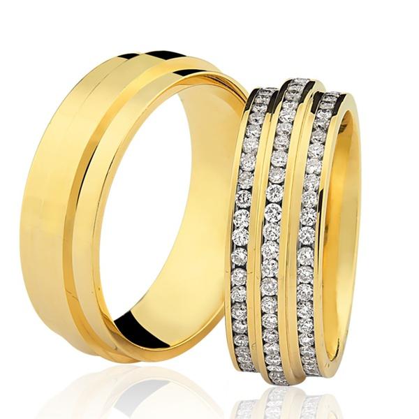 Aliança Lisa Saturno em ouro 18k com 6,5mm de largura com diamantes
