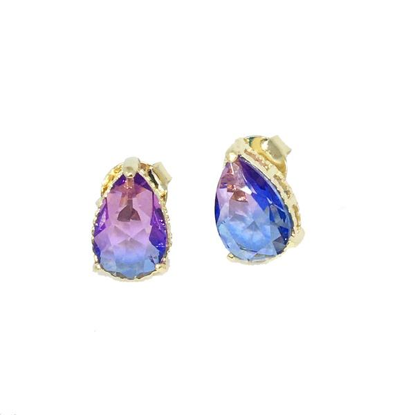Brinco Gota Rainbow Semijoia Banho de Ouro 18k Cristal Lilás Duo