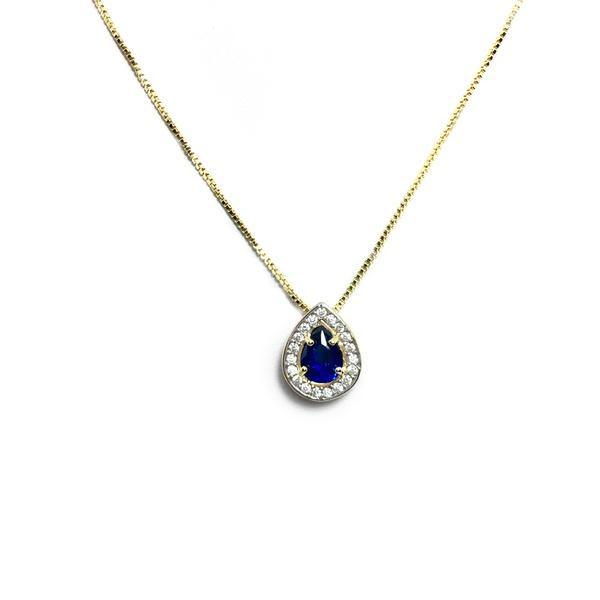 Pingente Gota Semijoia Banho de Ouro 18K Zircônia Azul Safira ao Centro e Cravação de 38 Zircônias Incolor Detalhe em Ródio