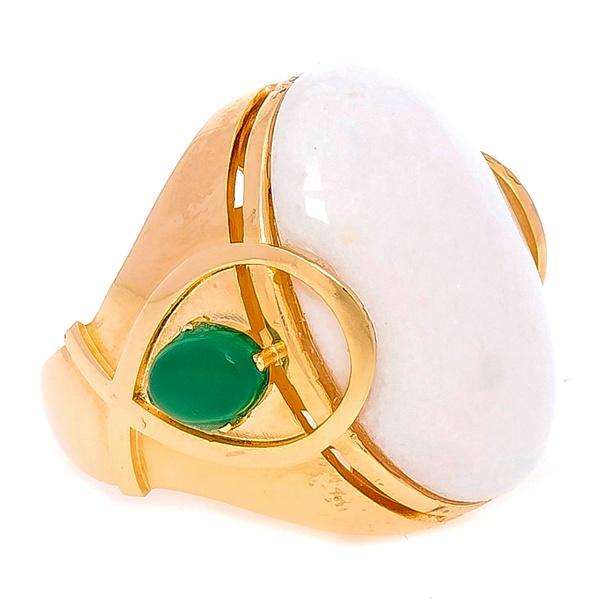 Anel Semijoia Banho de Ouro 18K Pedra Natural Ágata Branca Raquel Schiavon