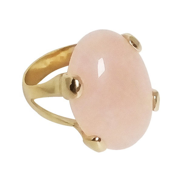 Anel Pedra Natural Oval Semijoia Banho de Ouro 18k Quartzo Rosa