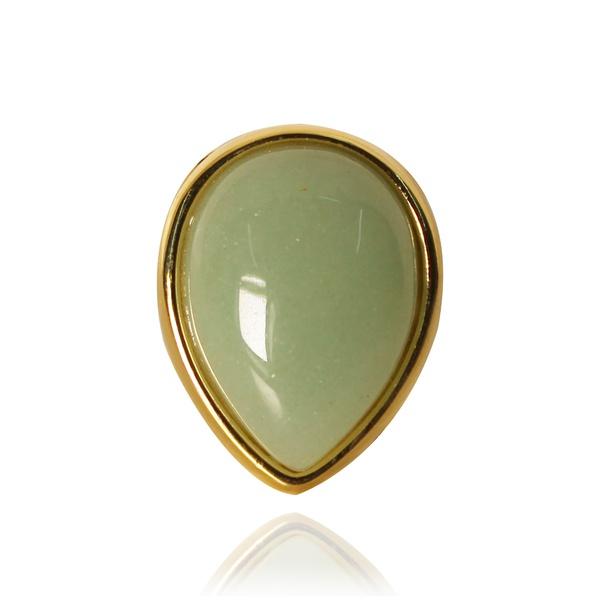 Anel Gota Semijoia Banho De Ouro 18k Quartzo Verde Ajustável