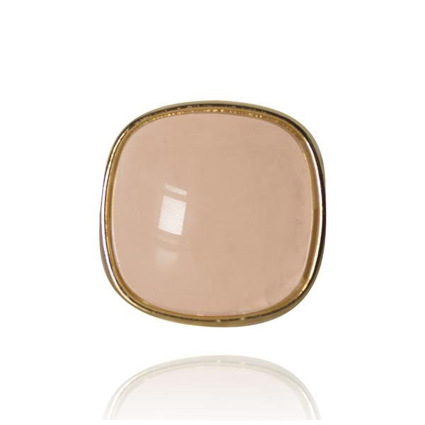 Anel Quadrado Semijoia Banho De Ouro 18k Quartzo Rosa Ajustável