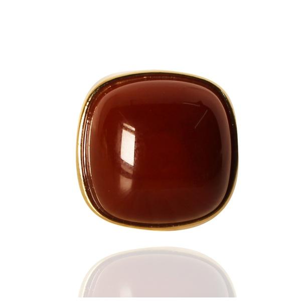 Anel Quadrado Semijoia Banho De Ouro 18k Ágata Vermelha Ajustável