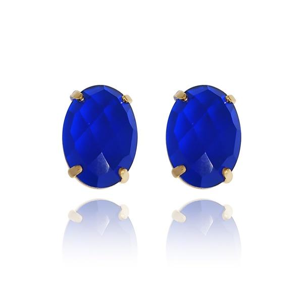 Brinco Ponto De Luz Oval Semijoia Banho De Ouro 18k Cristal Azul