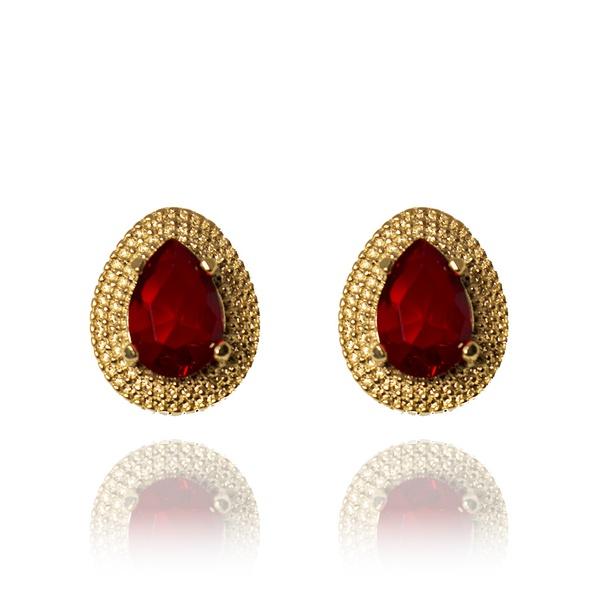 Brinco Gota Imperial Semijoia Banho De Ouro 18k Cristal Vermelho Rubi