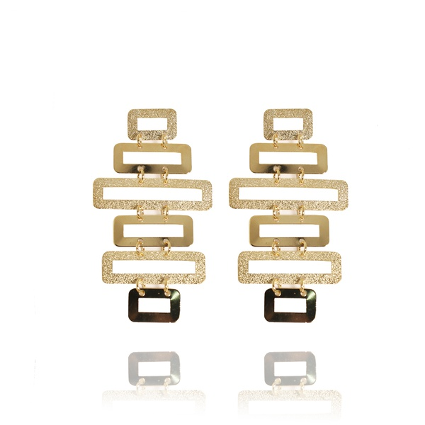 Brinco Formas Geométricas Fosco Semijoia Banho De Ouro 18k