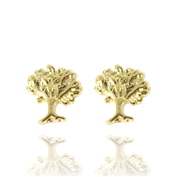 Brinco Árvore Da Vida Completa Semijoia Banho De Ouro 18k