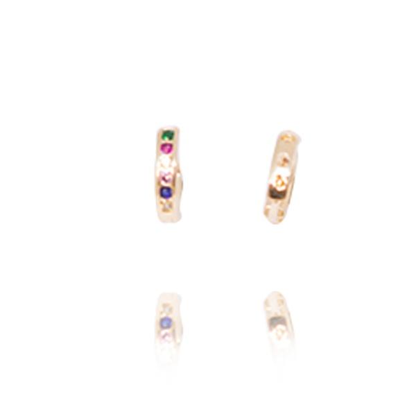 Brinco Argola Pequena Semijoia Banho De Ouro 18k 6 Zircônias Coloridas