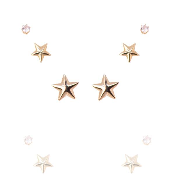 Brinco Trio com Estrelas Semijoia Banho de Ouro 18K Zircônia incolor