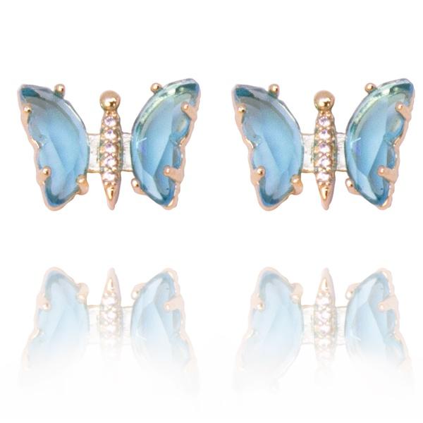 Brinco Borboleta Pequena Semijoia Banho De Ouro 18k Zirconia Azul Safira