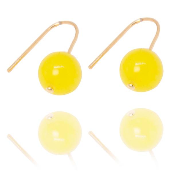 Brinco Gancho Semijoia Banho De Ouro 18k Pedra Natural Jade Amarelo Neon