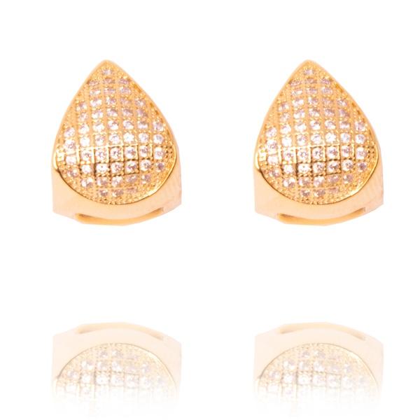 Brinco Argola Triangular De Zircônias Semijoia Banho De Ouro 18k