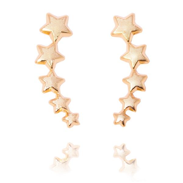 Brinco Ear Cuff Estrelas Trabalhado Semijoia Banho De Ouro 18k