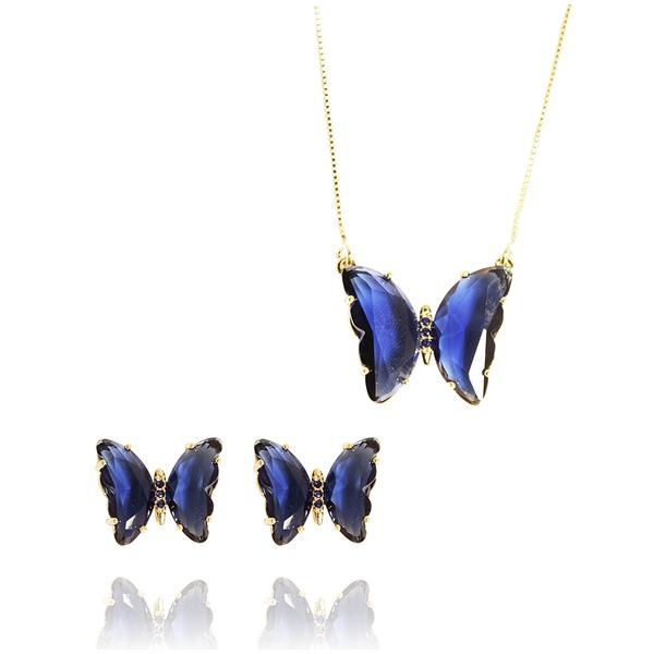 Conjunto Borboleta Semijoia Banho de Ouro 18K Zircônia Azul