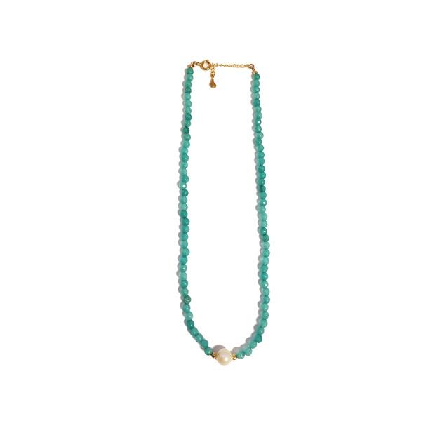Colar Chocker Pedra Natural Semijoia Banho de Ouro 18K Ágata Verde e Pérola
