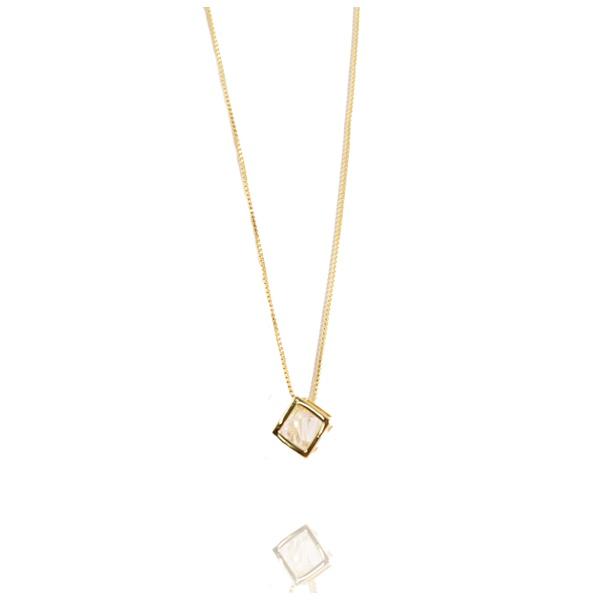 Colar Cubo Formato Diamante Semijoia Banho De Ouro 18k Zircônia Incolor