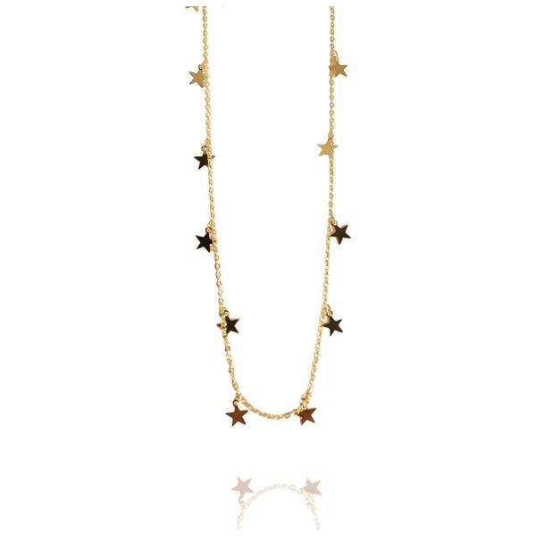 Colar Colar Estrelas Semijoia Banho De Ouro 18k