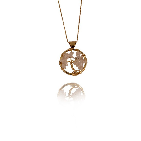 Pingente Árvore Da Vida Semijoia Banho De Ouro 18k Cristal Incolor