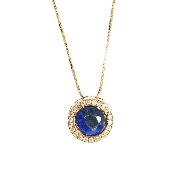 Pingente Redondo Banho de Ouro 18k Quartzo Azul Com zircônias e Corrente Veneziana