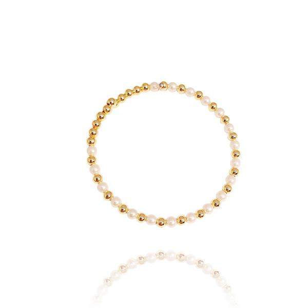 Pulseira Estilo Bracelete De Bolinhas Semijoia Banho De Ouro 18k e Pérolas