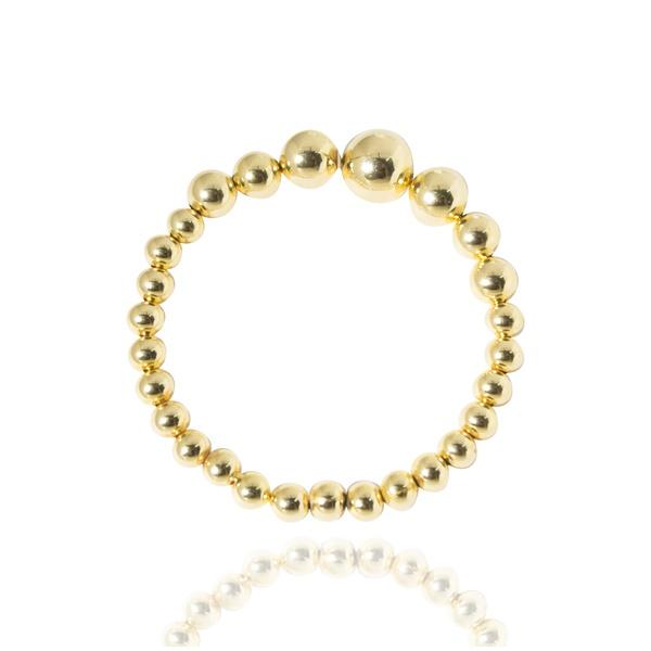 Pulseira Bracelete Formato Bolas Semijoia Banho De Ouro 18k