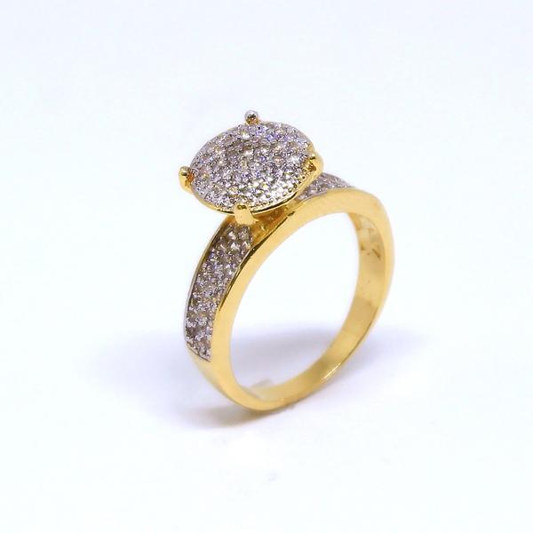 Anel Chuveiro Circular Semijoia Banho de Ouro 18K Micro Zircônias Brancas Detalhes em Ródio