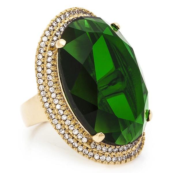 Anel Oval Semijoia Banho de Ouro 18K Cristal Verde e Cravação de Zircônias