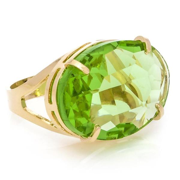 Anel Oval Cristallo Semijoia Banho de Ouro 18K Cristal Verde