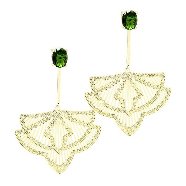 Brinco Haste Longa Arabesco Semijoia Banho de Ouro 18K Cristal Verde Esmeralda